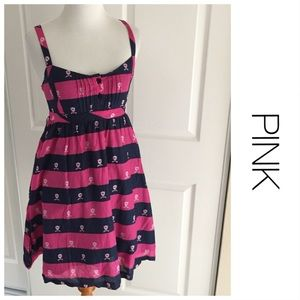 PINK Striped Pink and Navy Logo Dress S